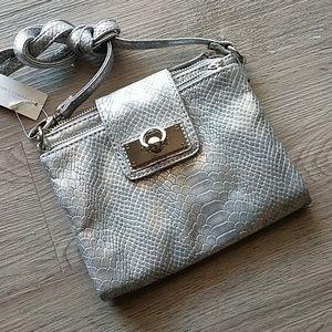 Silver reptile print crossbody bag